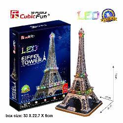PUZZLE 3D TORRE EIFFEL 82PCS LUZ LEDS