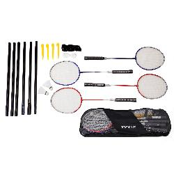 BADMINTON SET 4RAQUETAS+POSTE+RED E/BOLS