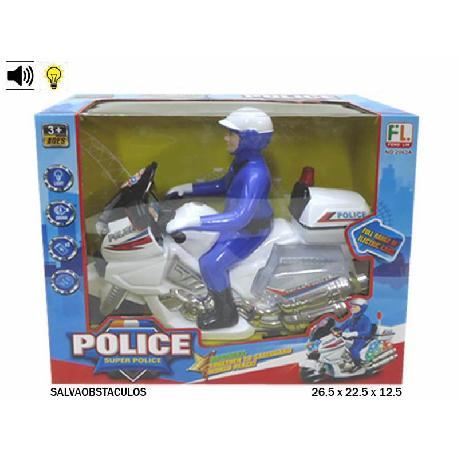 MOTO POLICIA SALVAOBS. 26CM LUZ+SON