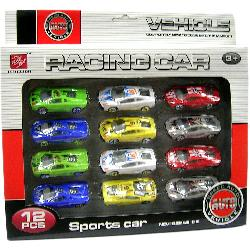 COCHES SET 12PCS RACING SPORT P/GARAJE