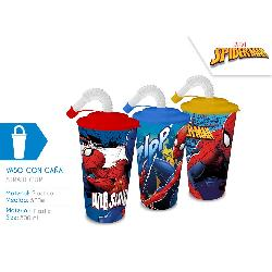 VASO CON PAJITA SPIDERMAN...