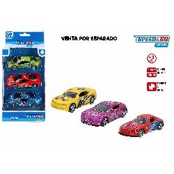 COCHES DEPORTIVOS METAL PACK 3 UD